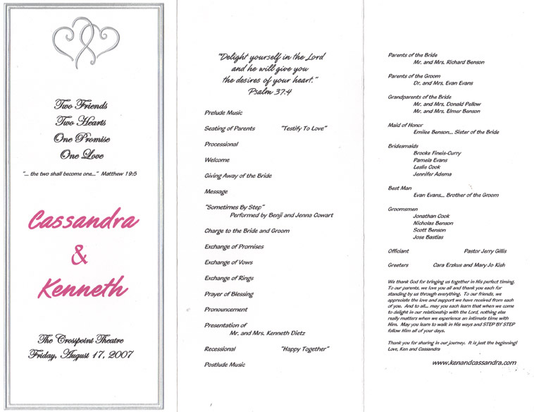 wedding ceremony programs sample of wedding program
